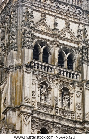A detail shot of the cathedral of Saint Gatien in Tours.