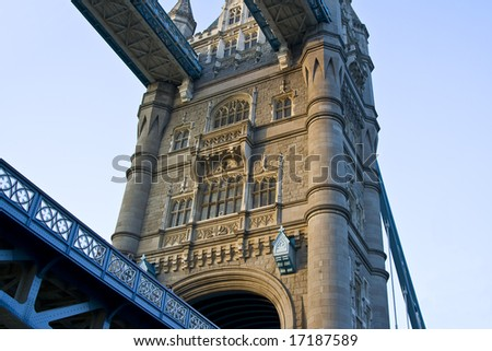 A detail view of Tower Bridge on river Thames. - stock photo