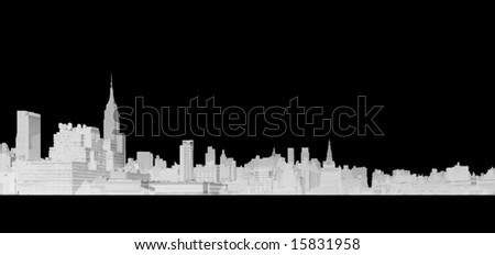 A detailed line drawing of the skyline of New York City on an easily removable black background - stock photo