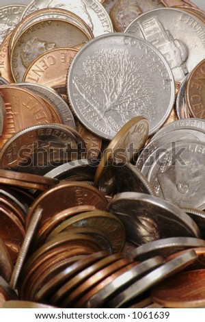 A Detailed Pile of Loose Coins - stock photo