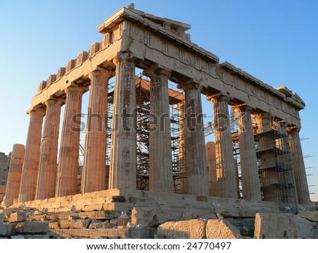 a diagnol view of the parthenon of the acropolis in athens