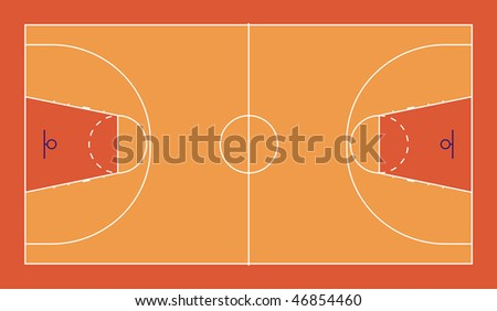 A diagram of a FIBA standard basketball court