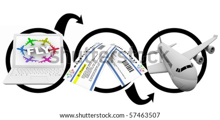 A diagram of ordering flight e-tickets on the Internet - stock photo