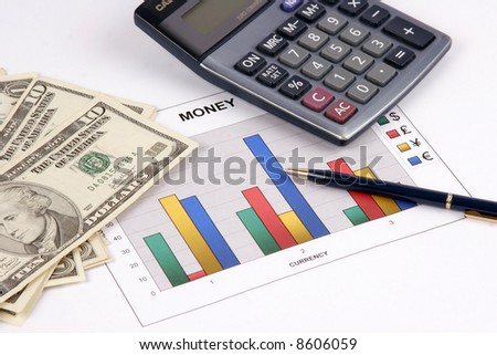 A diagram on financial report about currency - stock photo
