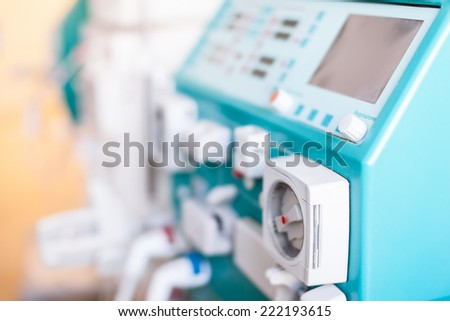 a dialyser or hemodialysis machine in an hospital ward - stock photo