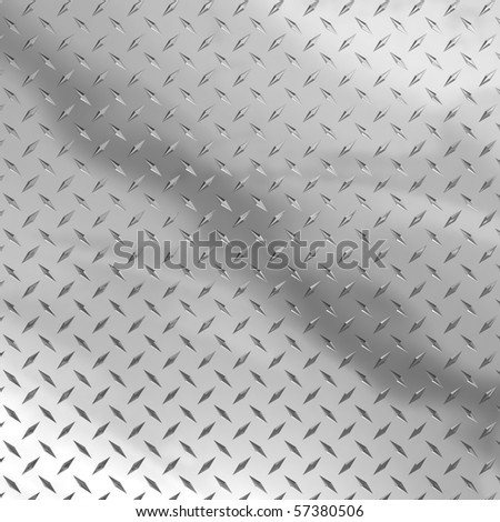 A diamond plate background rendered in 3d full sheet with reflections - stock photo