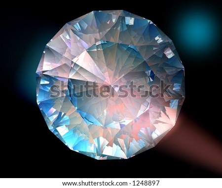 A diamond sparkles in colorful lights - stock photo