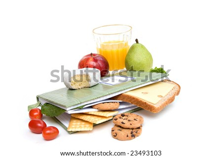 A diary or journal recording daily food consumption. - stock photo