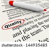 A dictionary definition with the word Quality circled by a red marker or pen, illustrating top character or attribute - stock photo
