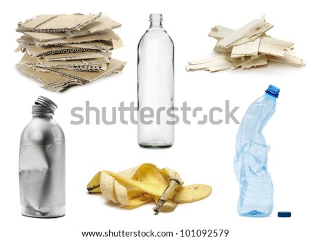 a different kinds of recyclable waste, isolated on white - stock photo