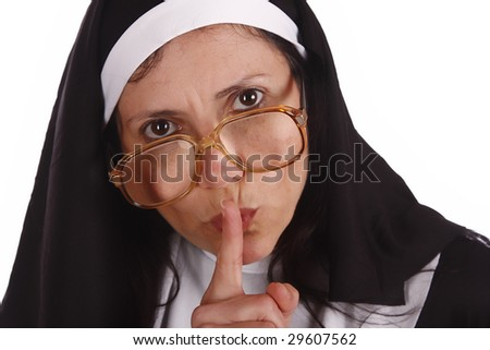 A different nun with funny expression - stock photo