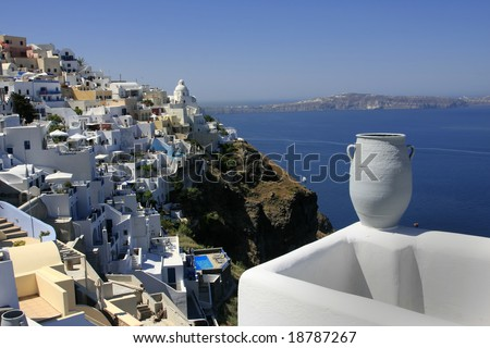 A different perspective of Santorini island, Cyclades, Greece