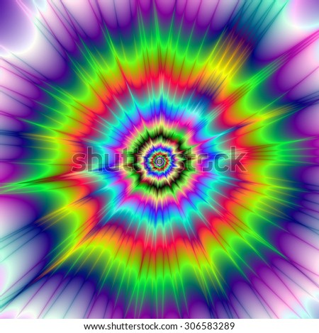 A digital abstract fractal image with a colorful psychedelic explosion design in red, green, blue, violet and yellow.