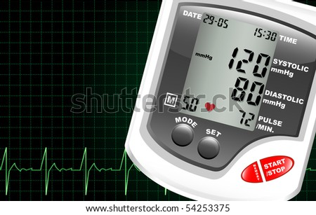 A digital blood pressure monitor against a computer screen showing heartbeat. Space for text
