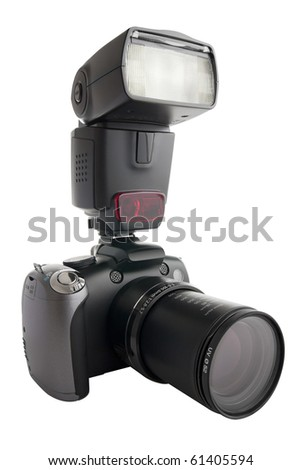 """A digital camera (""""bridge"""", high end compact) with zoom barrel extended, and one external flash attached to the hot shoe. Clipping path for the camera+flash shape included. - stock photo"""