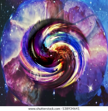 A digital concept of outer space and time.  Colorful swirling pattern on a background of the universe.