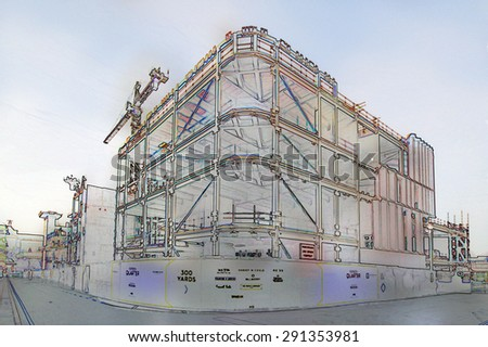 A digital constricted line and watercolour wash drawing of the construction of a Leeds shopping centre - stock photo