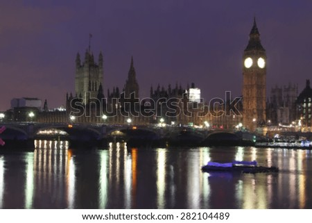 A digital constructed painting of the Houses of Parliament, London, UK - stock photo