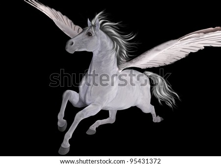 A digital 3d render and painting of a white flying horse, pegasus, isolated on a black background.