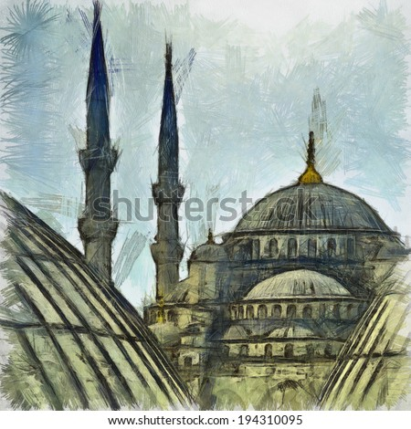 A digital drawing of the blue mosque in the turkish city of Istanbul - stock photo