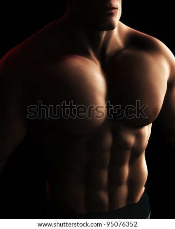 A Digital Illustration of a male bodybuilder's torso in dynamic light and shadow.