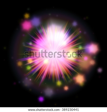 A digital illustration of a  pink star burst with many colored lights and shapes. - stock photo