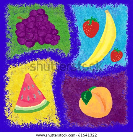 A digital illustration of a variety fruits - grapes, watermelon, banana, strawberries, peach