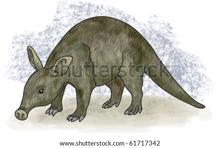 a digital illustration of an aardvark