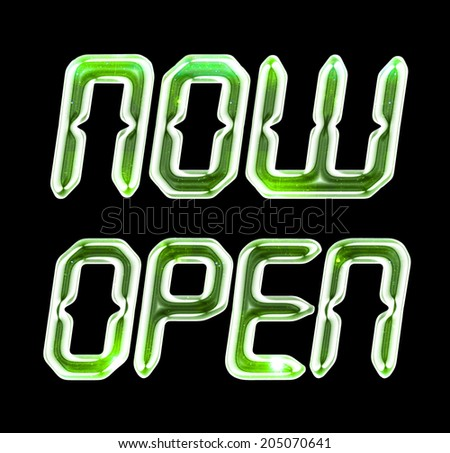 A digital NOW OPEN sign with a glassy, green glow for use as a store sign or design element. - stock photo