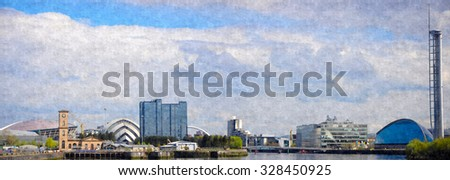 A digital oil painting from a photograph of an urban panoramic landscape setting of Glasgow, Scotland on the River Clyde