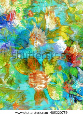 A digital oil painting of some colorful Celosia flowers