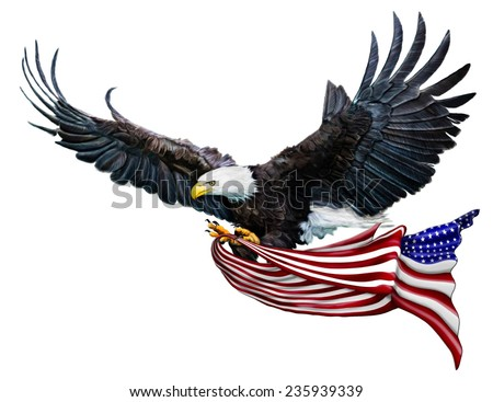 A Digital Painting of a Bald Eagle flying carrying a U.S. Flag - stock photo