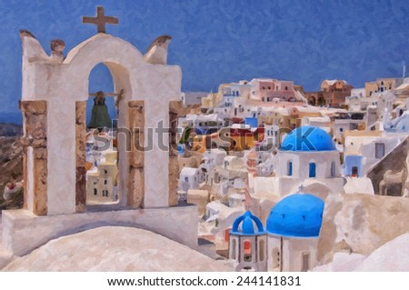 A digital painting of a couple of the famous blue domed churches from Oia on the greek isle of Santorini. - stock photo