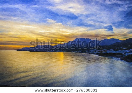 A digital painting of a glorious sunset at Makrygialos on the Greek island of Crete. - stock photo
