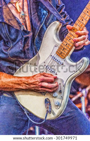 A digital painting of a heavy metal hard rock guitarist doing a guitar solo on stage. - stock photo