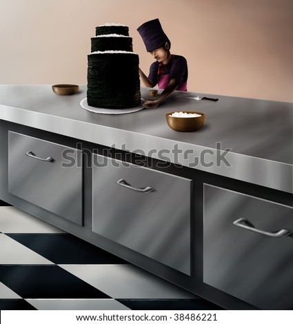 a digital painting of a Japanese sushi chef in the kitchen of an upscale restaurant creating a giant sushi cake