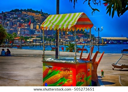 A digital painting of a traditional corn on the cob cart in Kusadasi Turkey