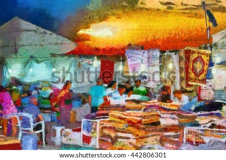 A digital painting of a Turkish street market scene