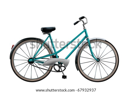 a digital painting of a vintage bike isolated on a white background - stock photo