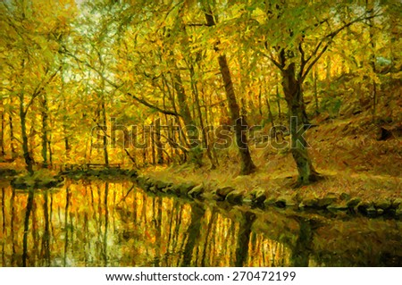 A digital painting of an autumn woodland scene full of atmosphere. - stock photo