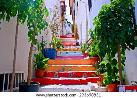 A Digital painting of colorful steps in Kusadasi Turkey