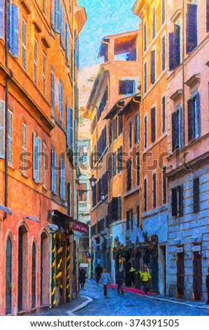 A digital painting of one of the many quaint little narrow streets in the Italian capital of Rome. - stock photo