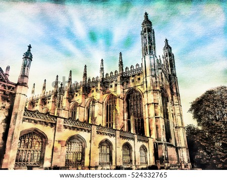 A digital painting of the chapel at Kings College, Cambridge