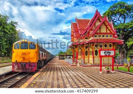 A digital painting of the Hua Hin train station in Thailand. - stock photo