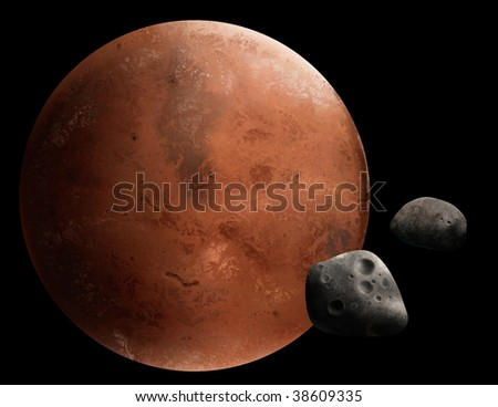 a digital painting of the red planet Mars and 2 of it's moons, Phobos and Deimos. - stock photo