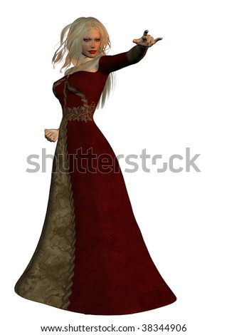 A digital render of a beautiful woman dressed in long red gown with blond flowing hair in a mystical stance. - stock photo