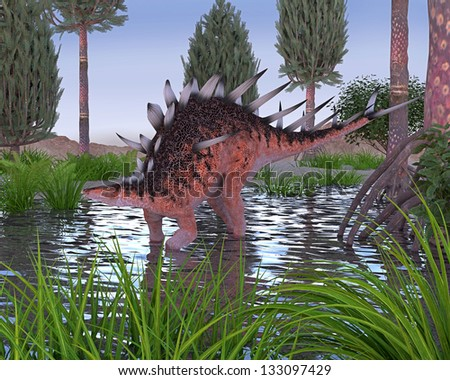 A digital render of a Kentrosaurus dinosaur in water in a prehistoric scene. Kentrosaurus looks similar to Stegosaurus, but was from Africa and lived in the late Jurassic time period.
