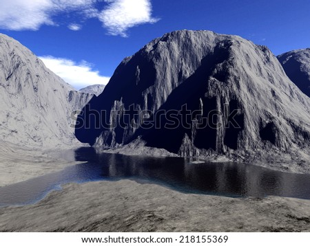 A digital render of a rock landscape with body of water. - stock photo