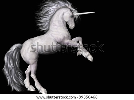 A digital render of a white unicorn rearing.  Black background. - stock photo
