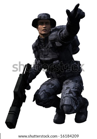 A digital render of an isolated Space Marine Ranger 1, 3d digitally rendered illustration - stock photo